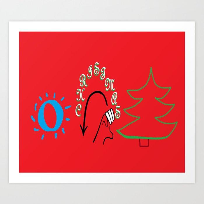 american sign language o christmas tree art print