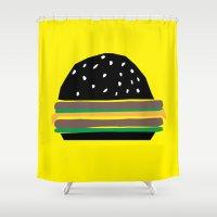 hamburger Shower Curtains featuring fastfood hamburger by lightnass