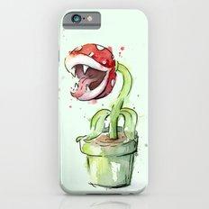 Piranha Plant Watercolor Geek Gaming Mario Art iPhone 6s Slim Case