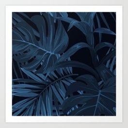 Navy Leaf Art Print