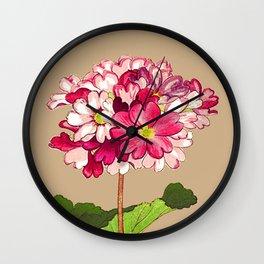 Vintage Japanese Hydrangea. Fuchsia Pink and Green Wall Clock