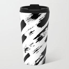 Black brush stripes rain Travel Mug