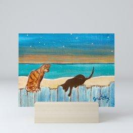 Cats on a Fence Mini Art Print