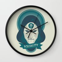 equality Wall Clocks featuring EQUALITY by Akiwa
