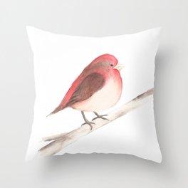 Chubby Finch Throw Pillow