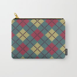 Faux Retro Argyle Knit Carry-All Pouch