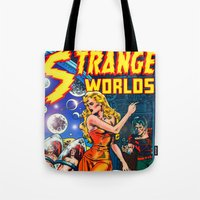 guardians of the galaxy Tote Bags featuring STRANGE TALES - GALAXY GUARDIANS - REDUX by PD POP ART