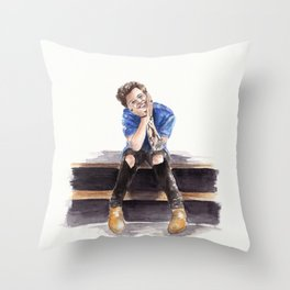 Smiling Harry Styles Throw Pillow