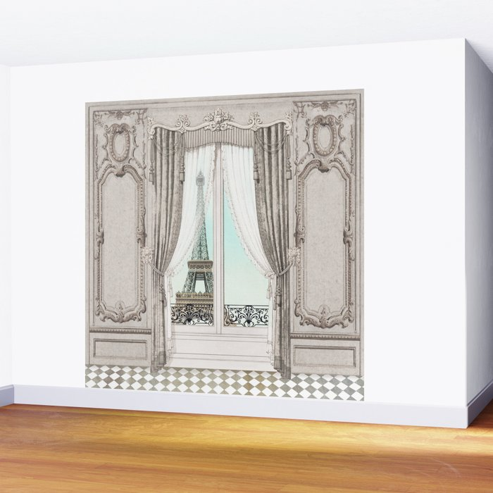 Eiffel Tower room with a view Wall Mural