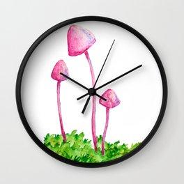 Pink Mushrooms Wall Clock