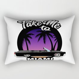Take me to Miami. Ganster car with palms beach sun. Miami automotive travel illustration. Rectangular Pillow