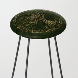 Tree of life -Yggdrasil -green and gold Counter Stool