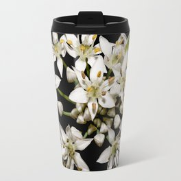 White Flowers Travel Mug