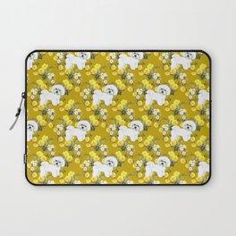 Bichon Frise on Yellow Rose Floral Autumn Gold Laptop Sleeve