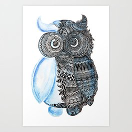 watercolor owl Art Print