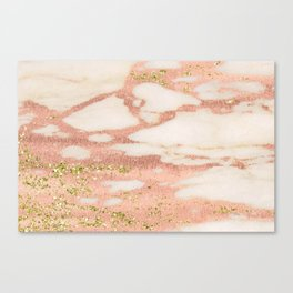 Marble - Rose Gold Shimmer Marble with Yellow Gold Glitter Canvas Print
