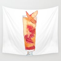 cocktail Wall Tapestries featuring Pimms Cocktail by Claire Elizabeth Artwork