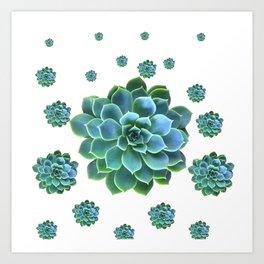 WHITE MODERN ART TURQUOISE BLUE SUCCULENT Art Print