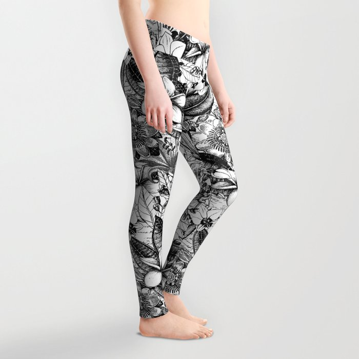 62907a6f2943d Black And White Tropical Flower Pattern Leggings by lebensart | Society6