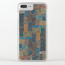 Blue Patina Patchwork 1 Clear iPhone Case