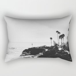 Laguna Beach | LoFi Black and White Relaxed Aesthetic Pink Sunset Palm Trees Hippie Ocean Waves Rectangular Pillow