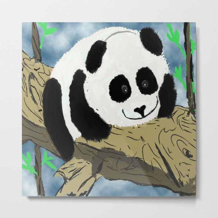 Baby Pand lying on a tree trunk  Metal Print