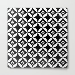 Linocut minimal scandinavian stars circles geometric black and white pattern Metal Print