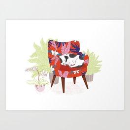 Sleeping Dog in Armchair – Light Version Art Print