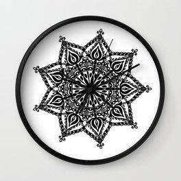 Indie Mandala: hand-drawn Wall Clock