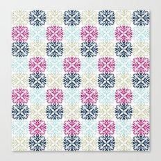 Floral Geometric - Navy & Pink Canvas Print