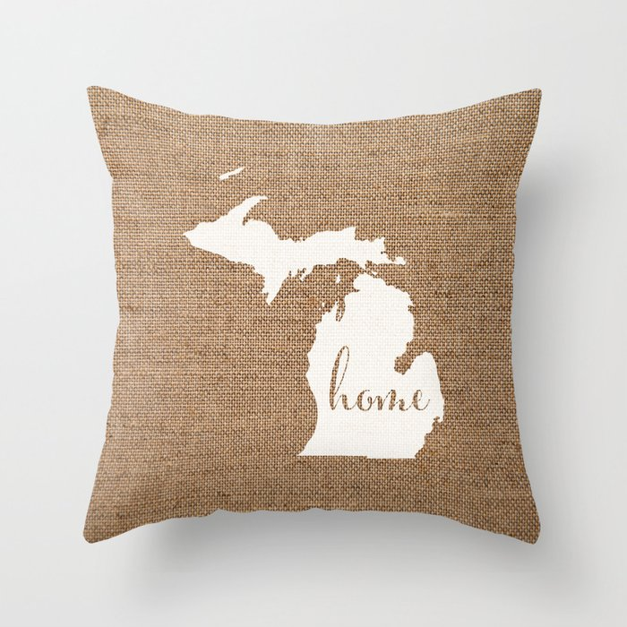 Michigan Is Home White On Burlap Throw Pillow By Yellow13design Society6