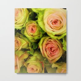 Green & Pink Bouquet Metal Print