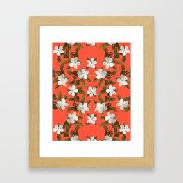 White Angel Flowers in Tangerine Framed Art Print