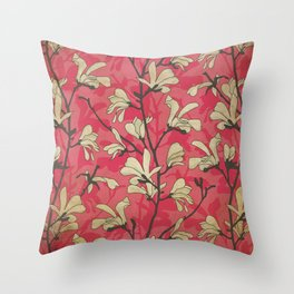 Kitschy Vintage Magnolia Pattern in Pink and White Throw Pillow