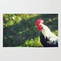rooster Area & Throw Rugs featuring Rooster by KimberosePhotography