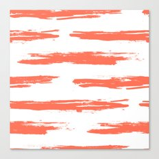 Brushed Stripe Deep Coral on White Canvas Print