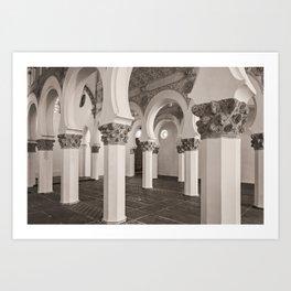 The Historic Arches in the Synagogue of Santa María la Blanca, Toledo Spain (2) Art Print