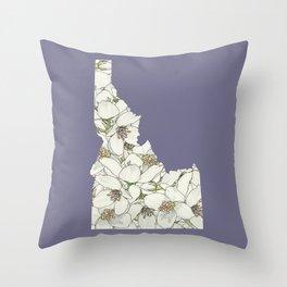 Idaho in Flowers Throw Pillow