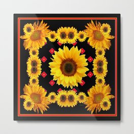 Black Western Blanket Style Sunflowers Metal Print