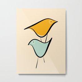 Pastels birds Metal Print