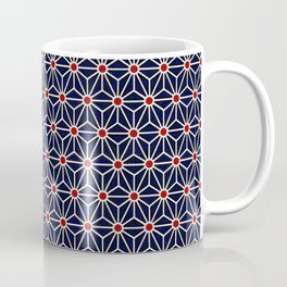 Beautiful Pattern #31 Blue triangles and red dots geometry Coffee Mug