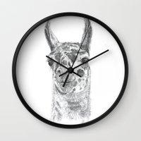 llama Wall Clocks featuring Llama by Condor