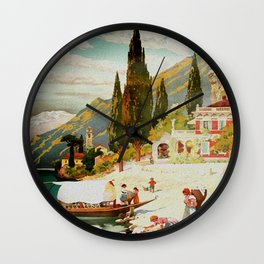Switzerland and Italy Via St. Gotthard Travel Poster Wall Clock