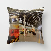 milan Throw Pillows featuring milan glitch by Martin Summers