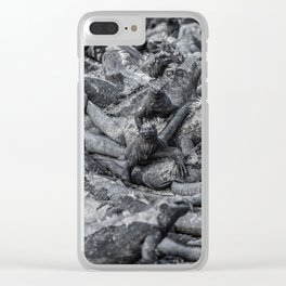 Galapagos marine iguanas sleeping art background Clear iPhone Case