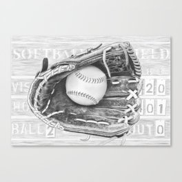 Softball (black and white) Canvas Print