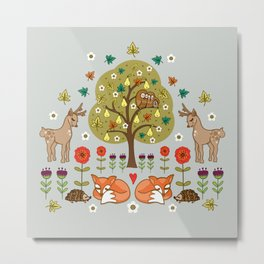 Woodland Wild Things Metal Print