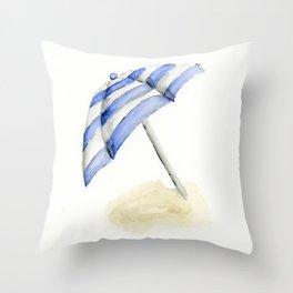 striped beach umbrella Throw Pillow