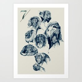 Seven Monkeys Art Print