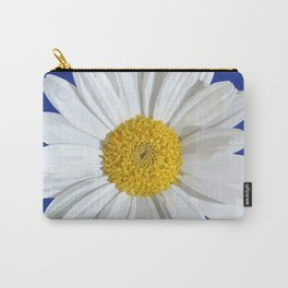 White marguerite blossom on blue  Carry-All Pouch